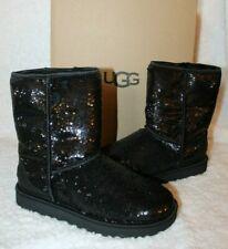 NIB Women's Shoes UGG CLASSIC SHORT COSMOS Sequin Boots Black 12