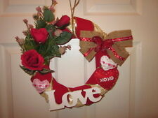 HOLIDAY DECORATIVE LOVE WREATH W/ROSES BUTTERFLIES & HEARTS HANDMADE IN USA