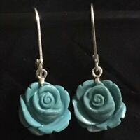 """NICE ESTATE STERLING SILVER CARVED TURQUOISE ROSE DANGLE EARRINGS 1 5/16"""" X 1/2"""""""