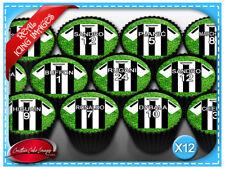 12 Juventus Soccer Jersey Edible Icing Image Cupcake Cake Topper Decorations
