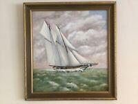 """Vintage Gilt framed original signed oil painting schooner """"Adela"""" by artist C H"""