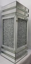 End Side Table Silver Mirrored Sparkly Diamond Crush Compact &Tall 74.5x30x30cm