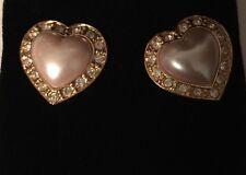 Vintage Avon Heart of my Heart Faux Pearl & Rhinestone Pierced Earrings