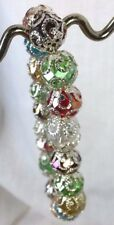 Crystal Bracelet Handcrafted Stretch Multi-Color with Filigree End Caps Jewelry