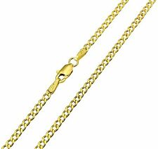 14K Real Yellow Gold 2.3mm Concave Curb Cuban Hollow Chain - 16 Inches
