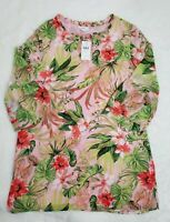 J Jill Seashell PF Tunic Blouse Sz Small Swimsuit Coverup Floral Hawaiian Top A1