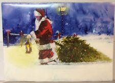 Set of 8 Cards & 8 Envelopes Sparkle Santa Tree Merry Christmas Holiday Greeting