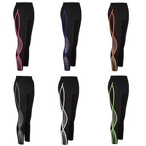 Women Side Contrast Mesh Panel Active Gym Leggings Wear Ladies Yoga Pants XS-L