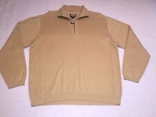 Tommy Bahama LS Knit shirt Med. 100% Cotton 1/4 zip Pullover Yellow