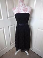 #03 - Strapless Black Lace Effect Prom Dress - Size 16 BNWT