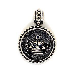 925 Sterling Silver Mens Sapphire Crown Pendant Charm 22.5 Grams
