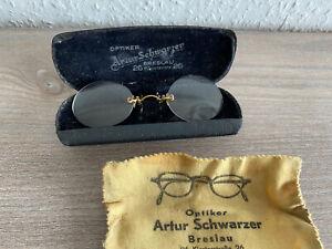 Nickelbrille Alt Antik mit Etui