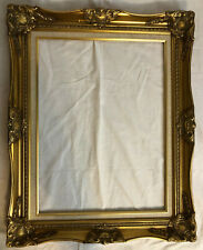 18 x 24 Ornate Gold Frame with Linen Liner, Wood with Floral Gesso