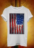 American Flag Hand Draw Retro Men Women Unisex T Shirt Tank Top Vest 1160