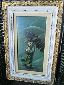 """M.POAST, RAINY DAY, 1965, OIL ON BOARD, FRAMED, SIGNED, DATED, FRAME 28"""" X 18"""""""