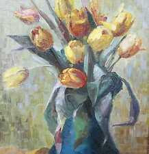 Ankermann Elisabeth 1863 - 1945 Tapiau Berlin Stilleben mit Tulpen in Vase VdBK