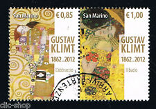 SAN MARINO 2 FRANCOBOLLI GUSTAV KLIMT 2012 usato
