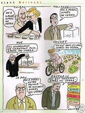 Publicité advertising 2002 Dessin signé Wolinski ...Chirac Hollande Hue Voynet