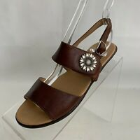 Sahara Daffy III Sandals Strap Flat Buckle Womens Brown Leather Size 5.5M