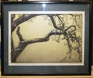 """Toshi Yoshida Japanese Color Woodblock Print """"Plum Tree and Blue Magpie"""" Listed"""