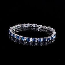 CLEARANCE Princess Cut Blue Sapphire & Clear CZ Tennis Bracelet (Sparkle-2578)