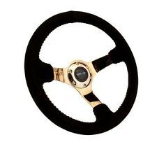 NRG Race Series Steering Wheel Black Suede /Gold Spokes /Red Stitching