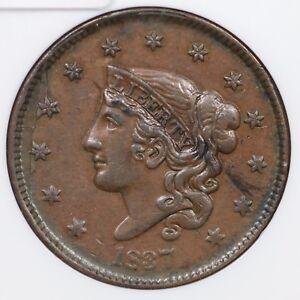 1837 N-2 R-2 NGC AU 58 Matron or Coronet Head Large Cent Coin 1c