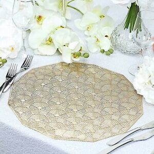 """6 GOLD 15"""" wide Geometrical Vinyl Woven Placemats Party Wedding  Decorations"""