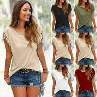Women Sexy Short Sleeve Tank Top Fashion Tassel Summer Tops Blouse T shirt