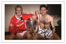 DAVID BECKHAM & RYAN GIGGS MANCHESTER UNITED AUTOGRAPH SIGNED PHOTO PRINT