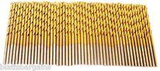 """50 HITACHI TITANIUM 3/32"""" HIGH SPEED STEEL DRILL BITS METAL GOLD HSS"""