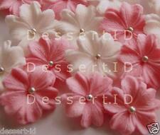 20 PINK & WHITE WEDDING  sugar edible flowers blossoms cupcake topper 3cm