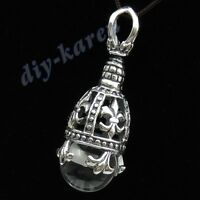 925 Sterling Silver Fleur de Lis Pendant with White Crystal Ball Celtic Vintage