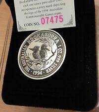 AUSTRALIA 1994 SILVER BU UNC 1OZ $1 KOOKABURRA COMMONWEALTH GAMES PRIVY