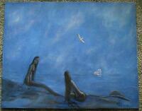 MERMAID BEACH SEASHORE FOLK ART NAUTICAL CLIPPER SHIP SEAGULLS MIST OIL PAINTING