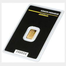 Goldbarren 1g 1 Gramm Feingold Argor Heraeus Blister Gold 99,99 Zertifikat Swiss