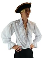 Pirate Frill Shirt Medieval Fancy Dress Mens Buccaneer Carribean Clothing