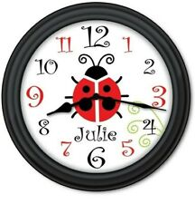 Personalized Ladybug Wall Clock - Nature Garden Kitchen Bedroom Decor Cute Gift