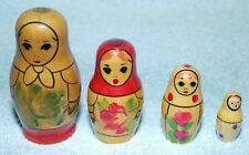 Set 4 Nesting Vintage Wooden Dolls Hand Painted Russian Dolls