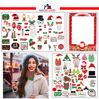 Funny Christmas Party Props Photo Booth Santa Claus Beard Moustache Photography