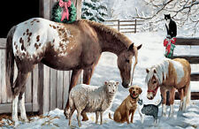 Framed Print - Farming Animals at Winter Time (Picture Horse Sheep Dog Cat Art)