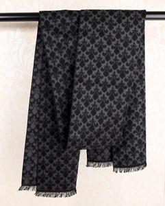 100% Silk brushed nap Scarf men Women Shawl Wrap black gray Plaids Checks QS72-2