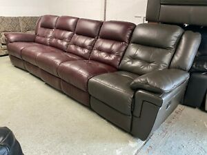 LAZY BOY AUGUSTINE LONG FIVE SEATER SOFA DARK BROWN LEATHER RECLINER RED MAROON