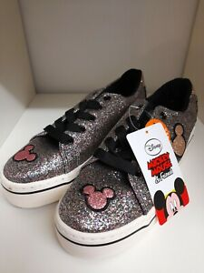 DISNEY MICKEY MOUSE & FRIENDS SPARKLY PUMPS TRAINERS SIZE 2 BNWT