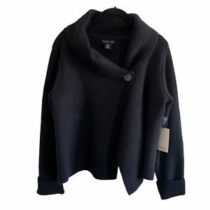 Adrienne Vittadini Black Wool Sweater Button Wrap Cardigan Medium NWT