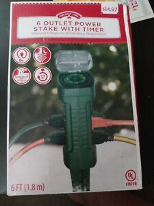 New- 6 Outlet Power Stake With Timer