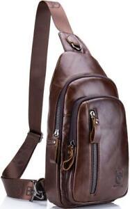 Genuine Leather Shoulder Backpack Outdoor Chest Bag Crossbody Sports Bag Brown