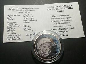 Transnistria 2018 20 rubles Space Tereshkova  Silver coin
