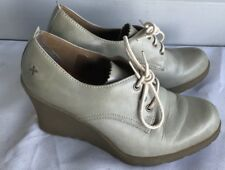 Doc Dr Martens Mimi Gray Burnished Leather Platform Wedge Lace up Ankle Boots 7
