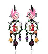 Boucles d'oreilles oiseau rose ♥ créoles branche ♥ créateur Paris ♥ lol bijoux